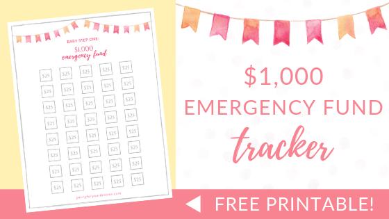 $1000 Emergency Fund Tracker   FREE Printable (Dave Ramsey Inspired)